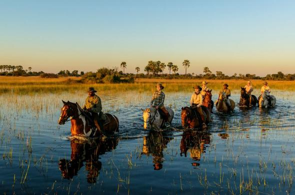Horseback safari through the Okavango Delta waterways.