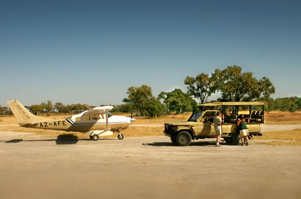 Landing at an airstrip in the middle of the Okavango Delta in Botswana.