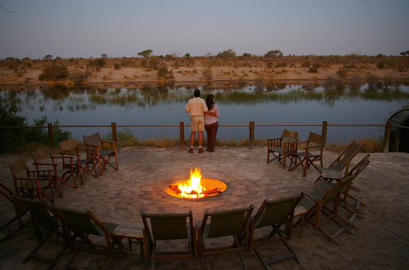 Boma Fire and Romantic Sundown at Leroo La Tau. Savute