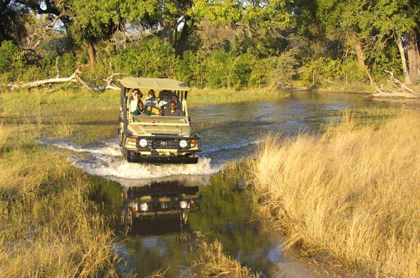 Off-road game viewing in Botswana.