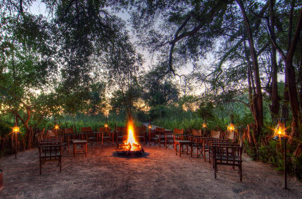 Boma dinners around a roaring fire.