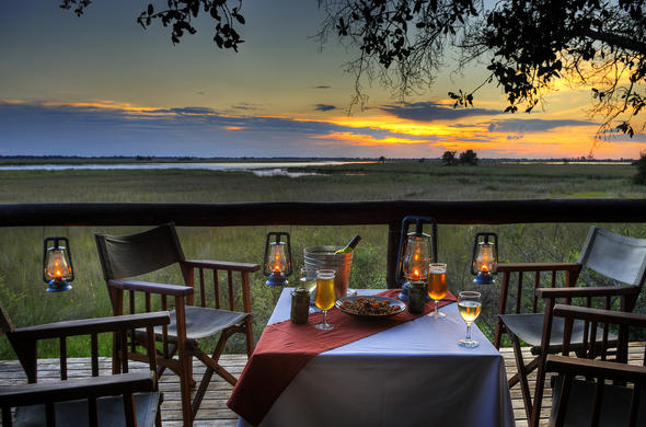 Sundowners and Dinner at camp Moremi