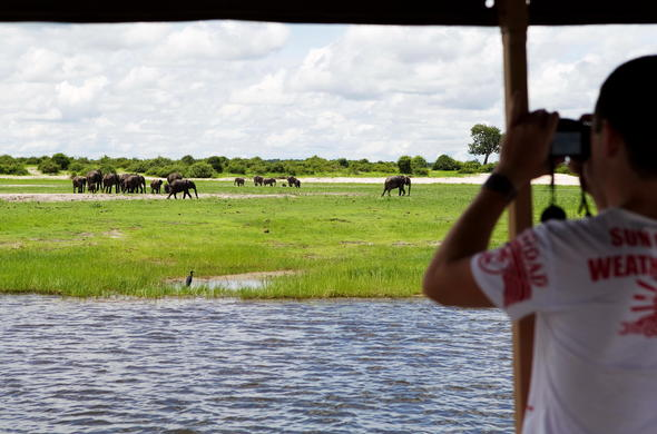 Looking for Elephants during a boat safari.