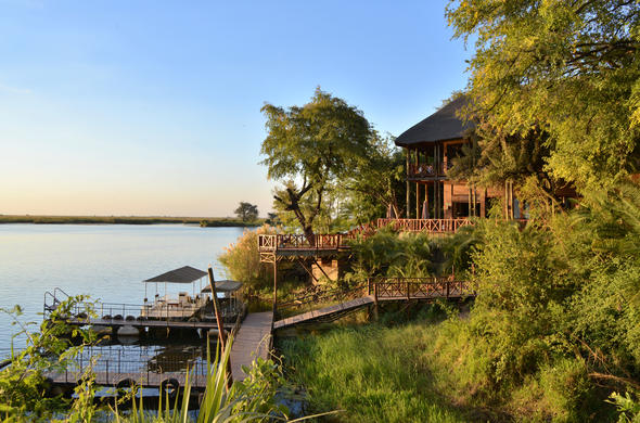 Chobe Marina Lodge is tucked away in lush green forest.