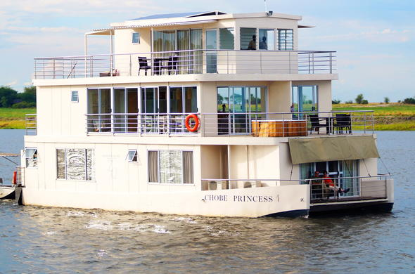 The unique Chobe Princess Safari Boat sails the extraordinary Chobe River.