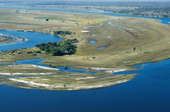 Chobe floodplains view from the sky.