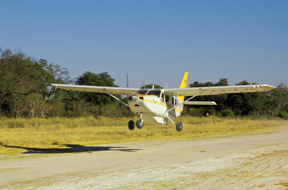 Light aircraft flight into the Kalahari.