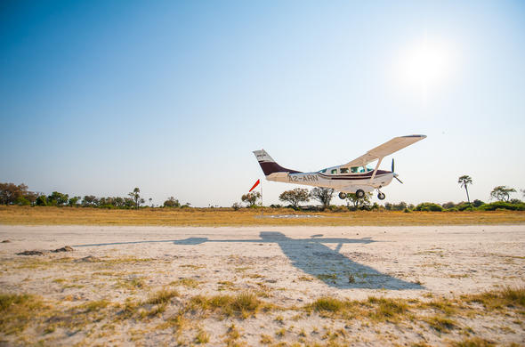 Take flight over the Okavango Delta.