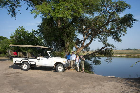 Stop for drinks during a game drive at Kasane.