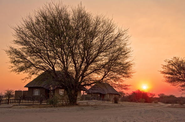 Experience a sunset over the Central Kalahari.