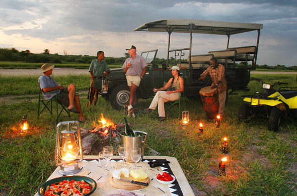 Sundowner drinks in the African bush.