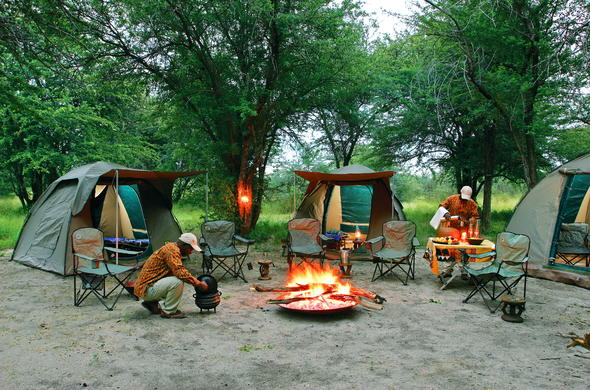 Camping in the Kalahari, Botswana.