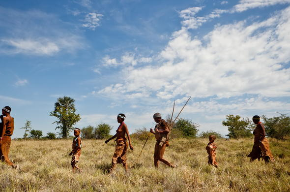 Bushmen guided tour through the Central Kalahari in Botswana.