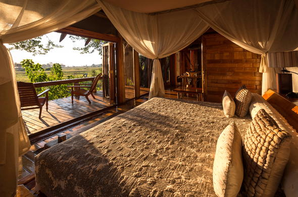 Okavango Delta accommodation with a private game viewing deck.