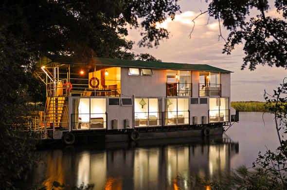 Kabbo house-boat moored for the night on the Okavango River