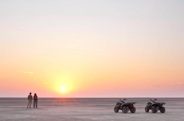 Stop for a sunset over the Makgadikgadi Pans.