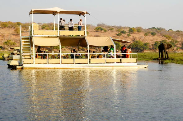 Boat excursion on barge down the Chobe River.