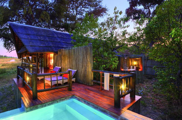 Luxurious Moremi Game Reserve accommodation with private patio and plunge pool.