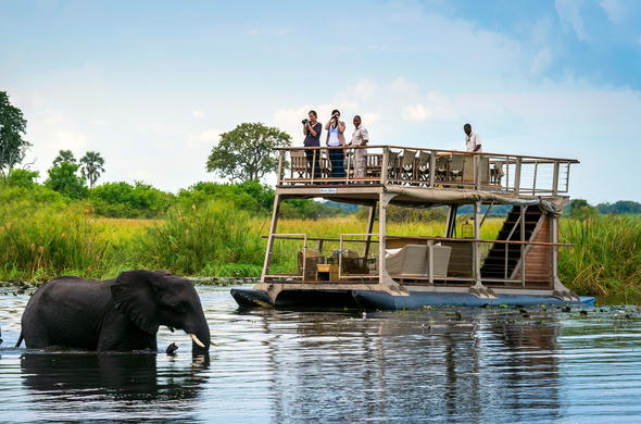 Barge cruise along the Linyanti River in Botswana.