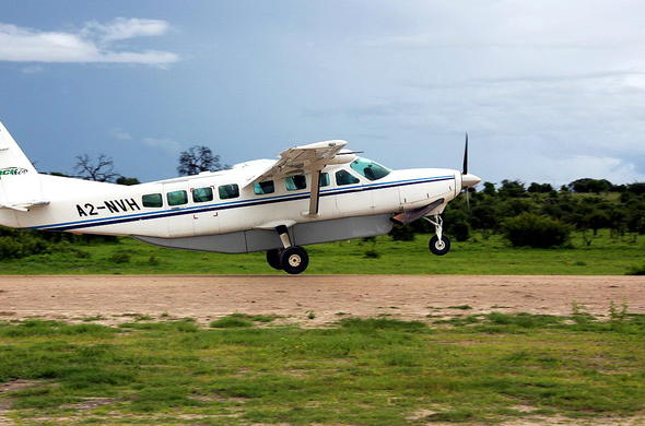 Take flight from Chobe to Savute.