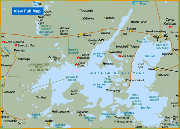 Map of Makgadikgadi Pans Botswana Locations of Makgadikgadi Game