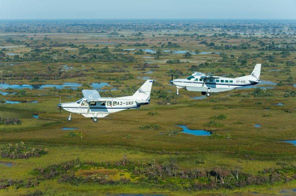 Light aircraft transfer from Moremi Game Reserve to Maun.