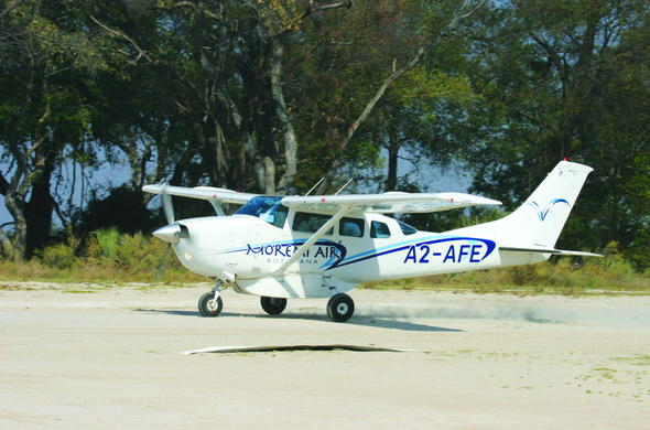 Light aircraft flight into Moremi Game Reserve in the Okavango Delta.