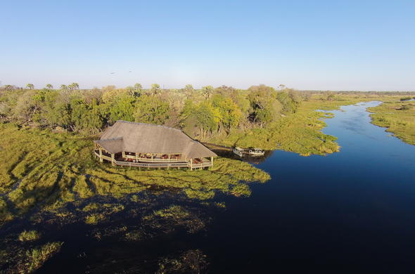 Safari Lodge in Moremi Game Reserve nestled between the waterways.