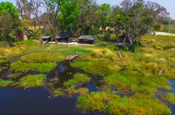 Oddballs Camp is located in a remote area area in the Okavango Delta.