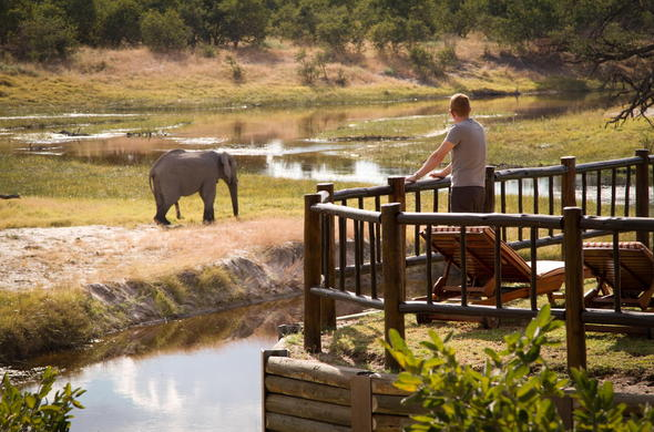 Watch passing by African wildlife from your private game viewing deck.