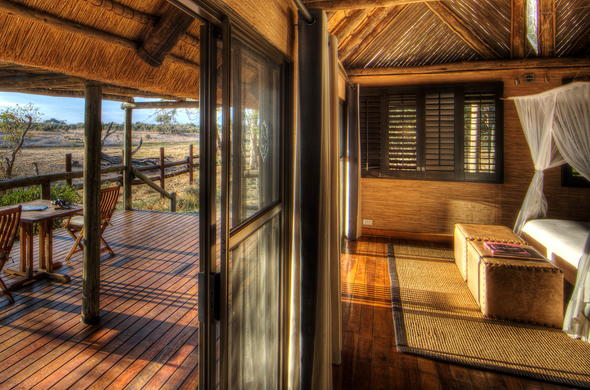 Private game viewing deck to watch passing African wildlife.