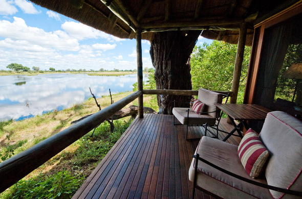 Game viewing deck at Savuti Camp.