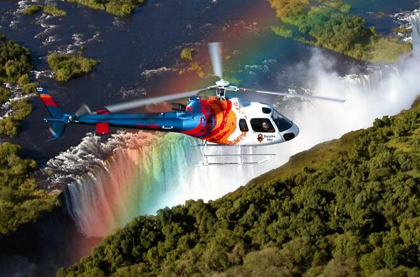 Helicopter flight over the Victoria Falls.