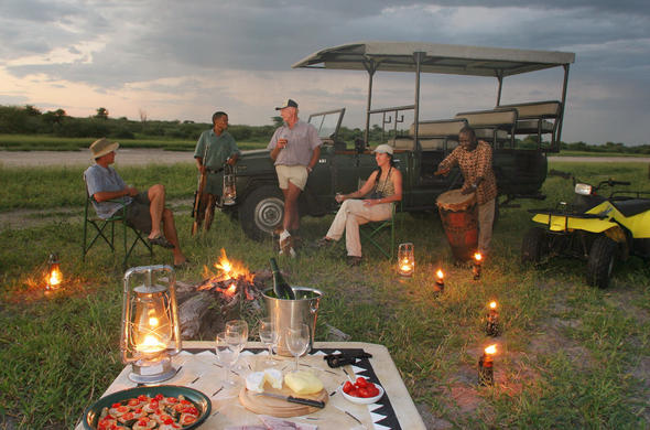 Sundowners at Haina Safari Lodge. Central Kalahari