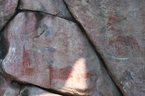 Tsodilo Hills rock art and grafitti. Michael English