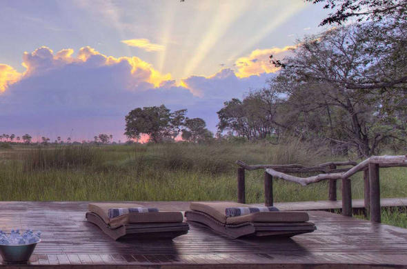 View from your patio at Nxabega Tented Camp. Okavango Delta