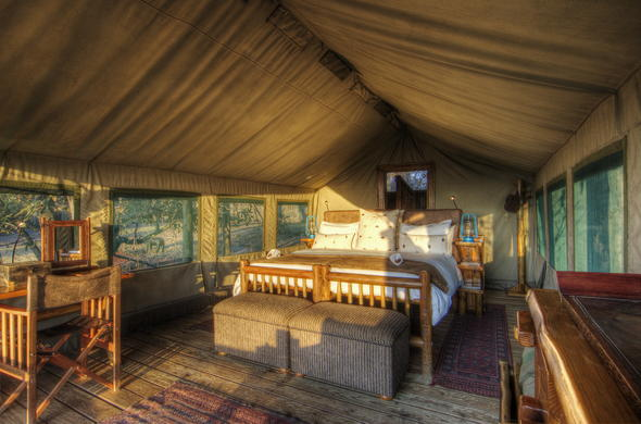 Comfortable tented accommodation.
