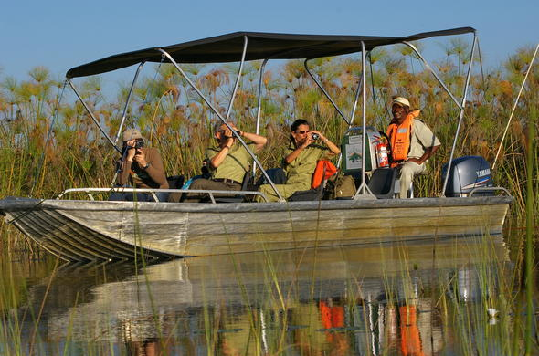 Boat safari through the Okavango Delta.