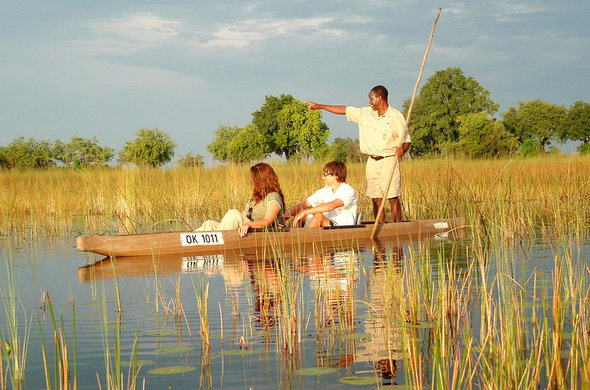 Traditional mokoro canoe trips in the Okavango Delta.