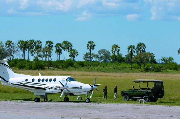 Arriving with light aircraft at the Linyanti airstrip.